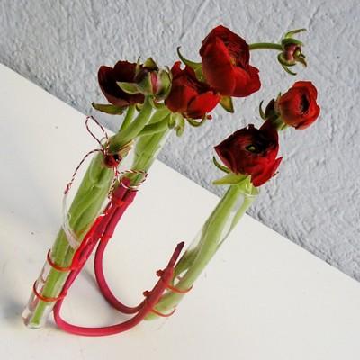 yau flori+cabluri cu 3 eprubete si ranunculus rosu