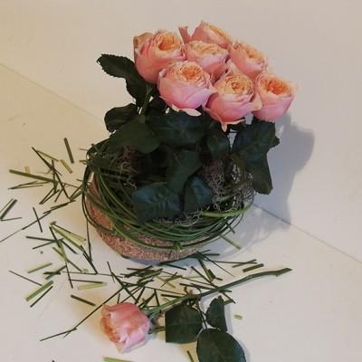 yau flori+trandafiri de gradin in suporti yau din pluta