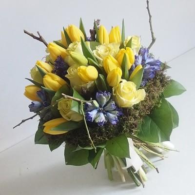 yau flori+buchet galben cu flori de primavara