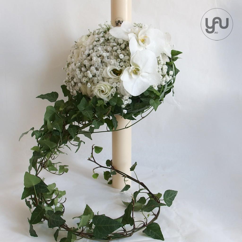 yau concept_yau flowers_lumanare de botez cu flori albe