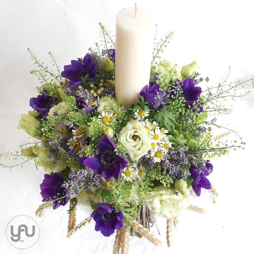lumanare pentru botez cu grau lavanda si anemone _ yau flori