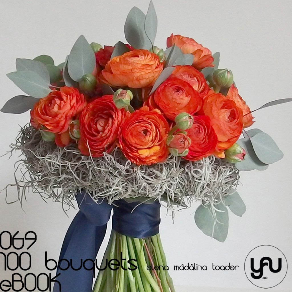 RANUNCULUS portocaliu si TILLANDSIA #100bouquets #ebook #yauconcept #elenamadalinatoader