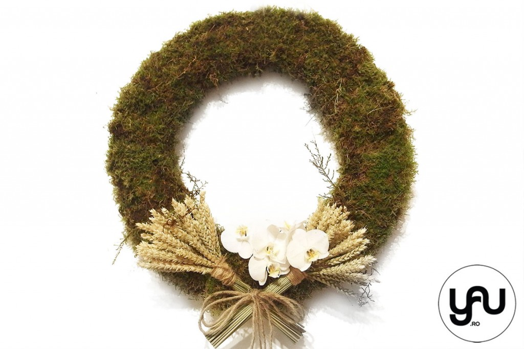 COROANA cu muschi verde  grau si orhidee #yauconcept #yau #coroana #decor (1)