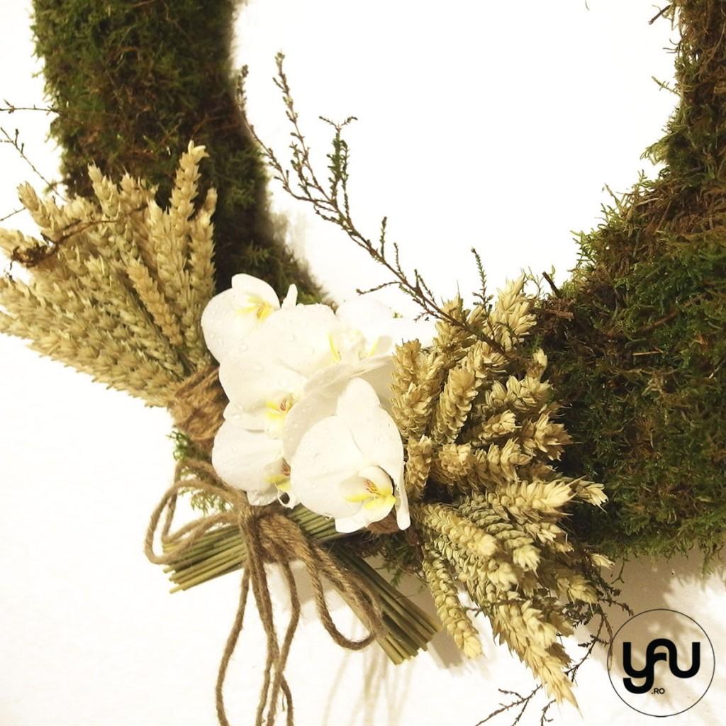 COROANA cu muschi verde  grau si orhidee #yauconcept #yau #coroana #decor (3)