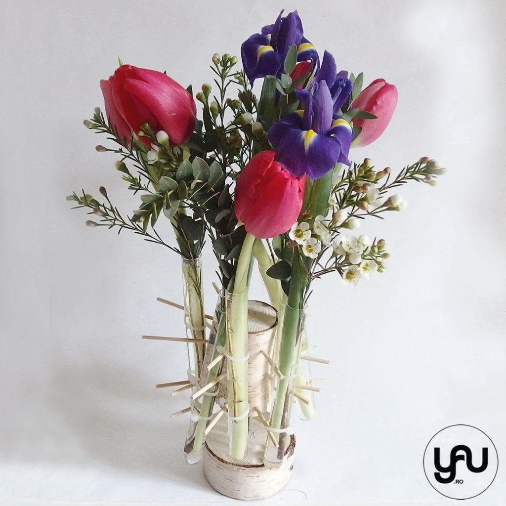 Aranjament floral irisi lalele si wax _ yauconcept _ elenatoader