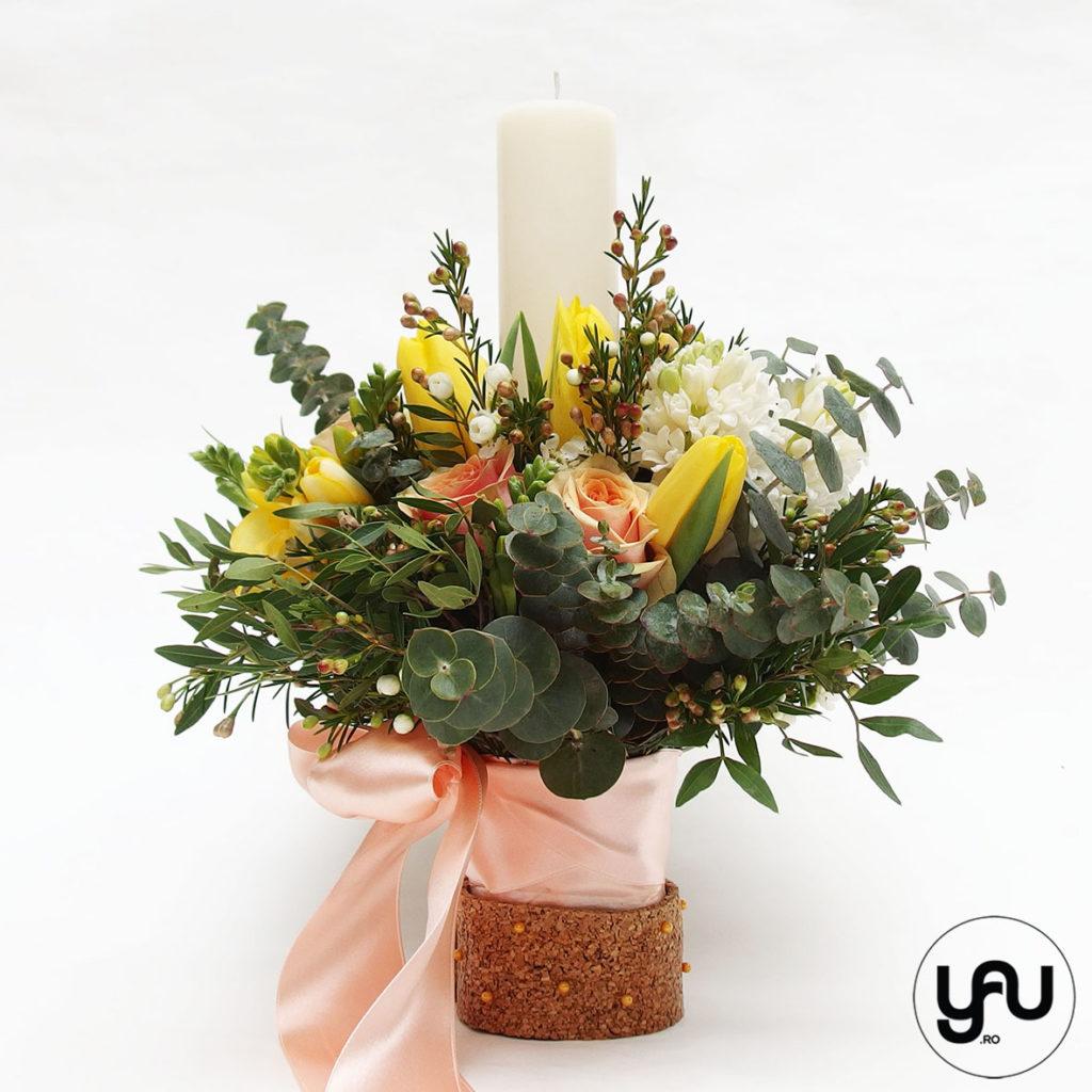Lumanare botez flori de primavara _ yauconcept _ elenatoader
