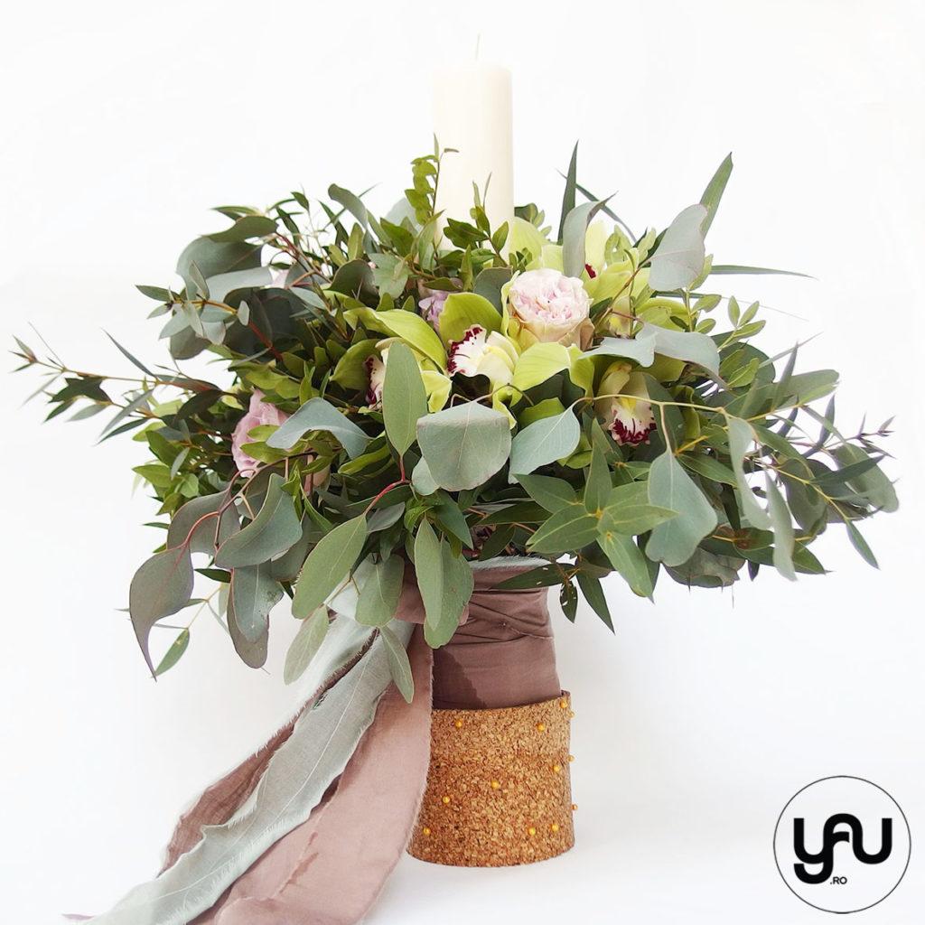 Lumanare botez VERDE orhidee si trandafiri YaUconcept ElenaTOADER