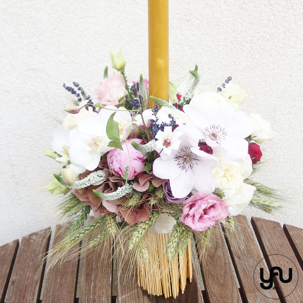 white clematis & Christening candles YaUconcept ElenaTOADER