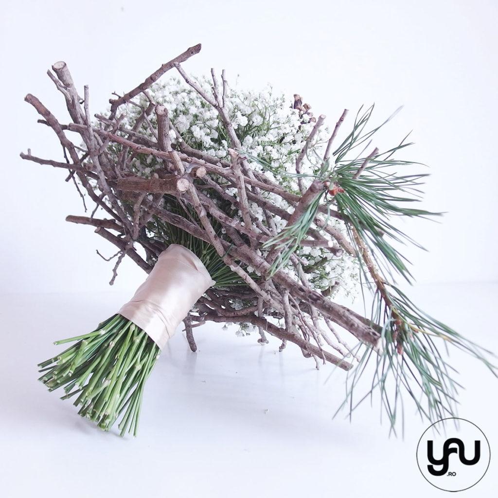 Buchet mireasa IARNA gypsophila si brad YaUconcept ElenaTOADER