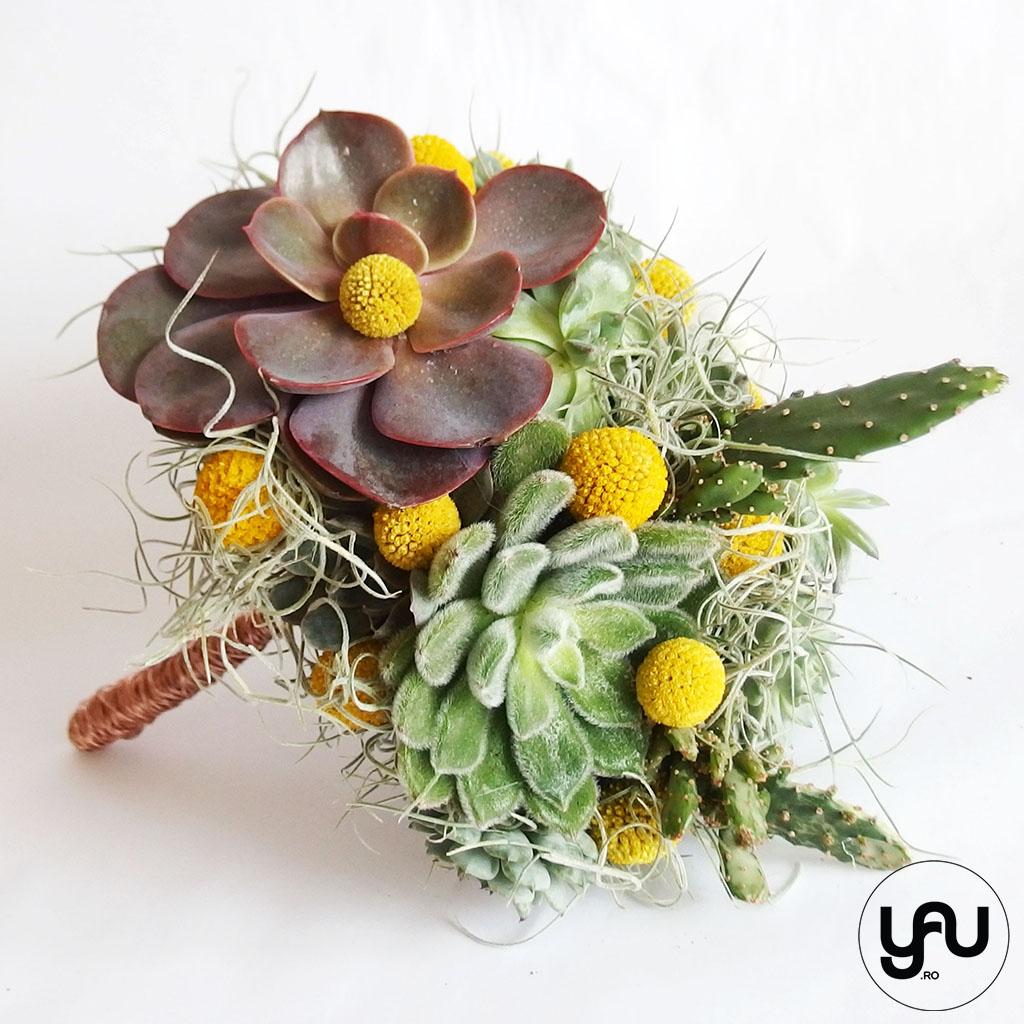 Buchet mireasa plante suculente cactusi craspedia yau concept Elena TOADER