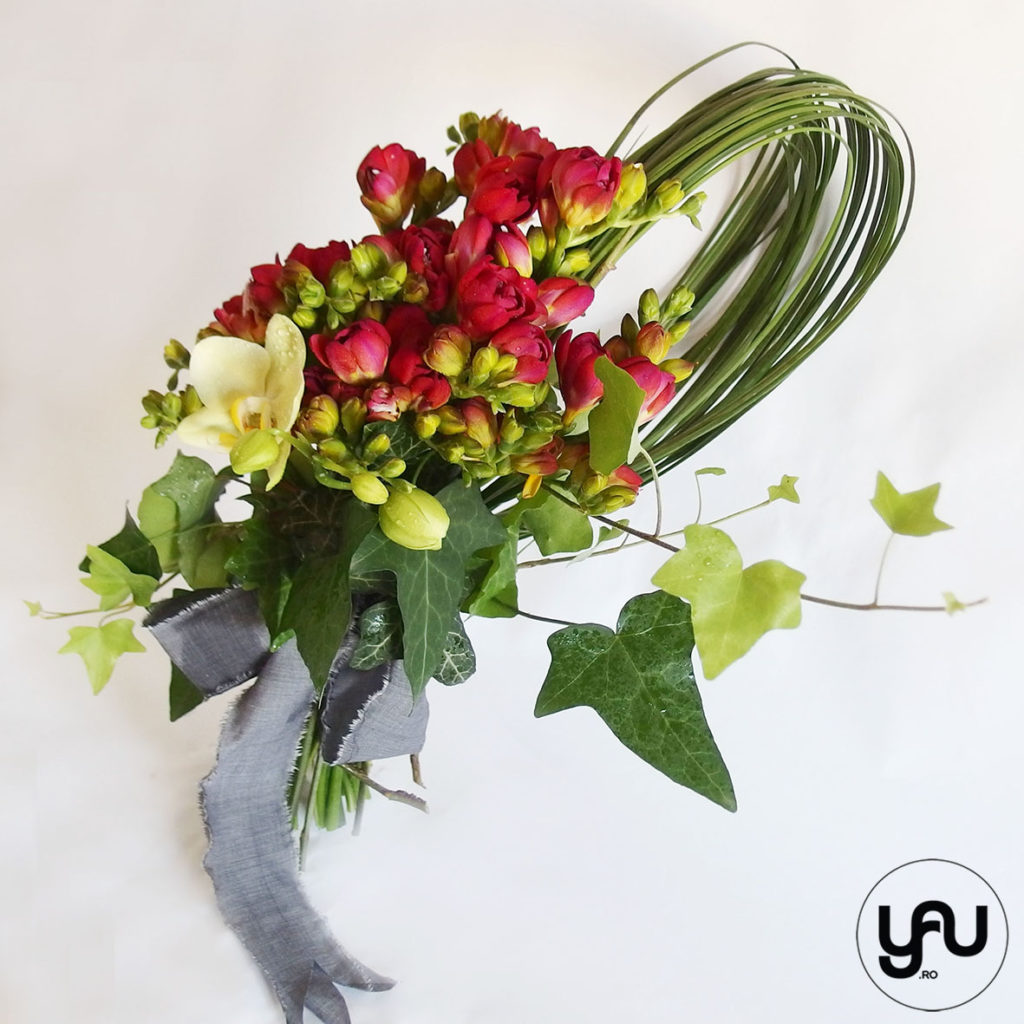 Frezii si Orhidee intr-un buchet geometric YaU Concept Elena TOADER