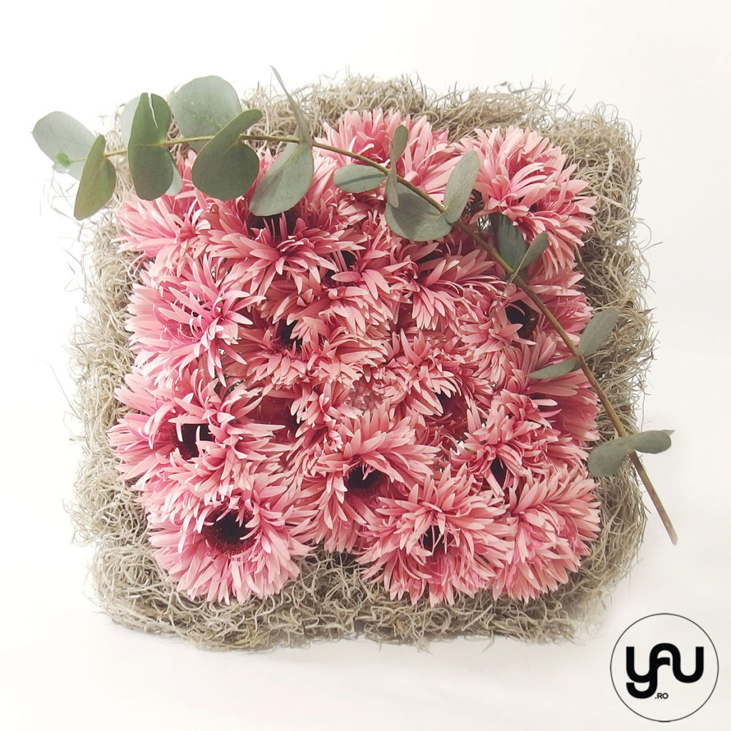 PINK geometry buchet geometric roz cu gerbera yau.ro yau concept elena toader