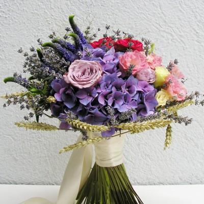 yau flori _ buchet special de mireasa cu grau si lavanda