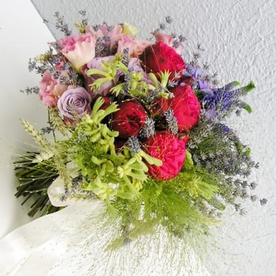 yau flori _ buchet de nunta cu grau si lavanda