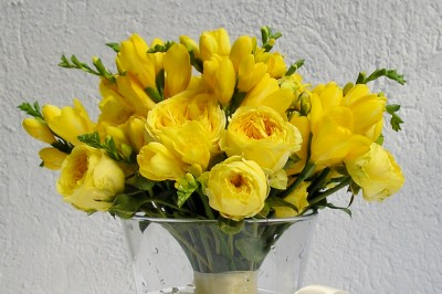 yau flori_buchet cu trandafiri de gradina si frezii
