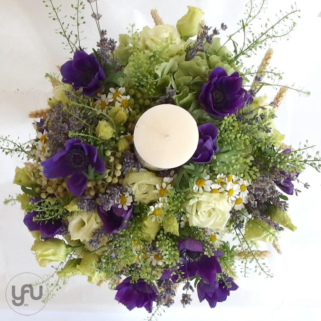 lumanare pentru botez cu grau lavanda si anemone