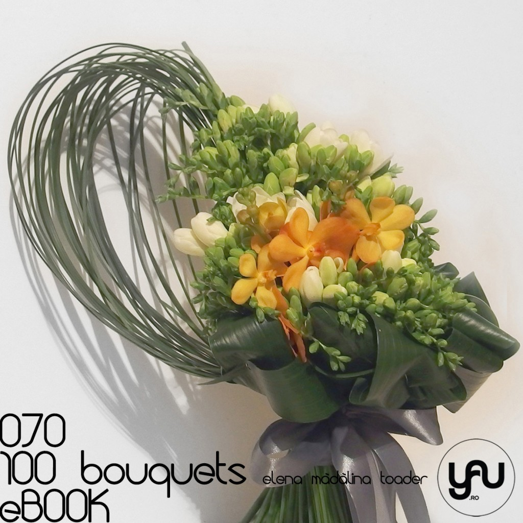 FREZII albe si ORHIDEE mokara portocalii #100bouquets #ebook #yauconcept #elenamadalinatoader