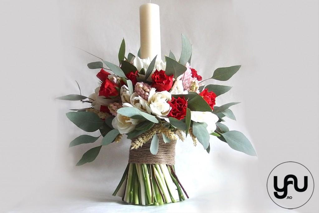 LUMANARE BOTEZ cu flori roz  rosii _ YaU _YaU Concept _ Elena toader (1)