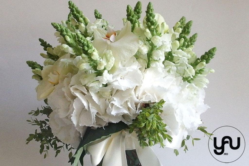 Buchet cu flori albe - hortensie anthirrinium orhidee _ yau concept _ elena toader (1)