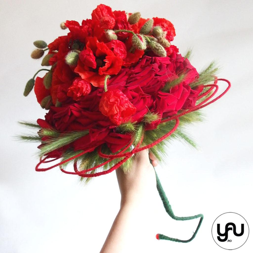 buchet de mireasa cu maci, trandafiri si grau _ yau concept _ elena toader (2)