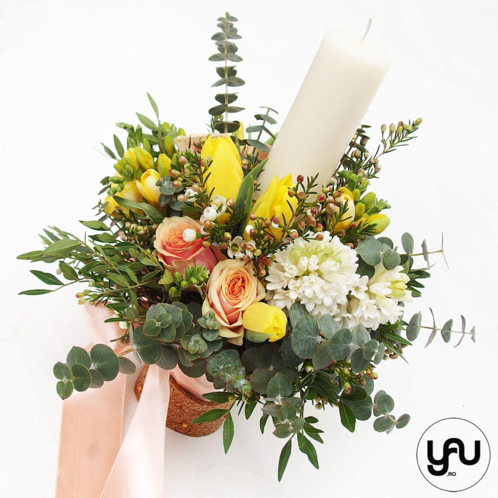 Lumanare botez flori de primavara _ yau concept _ elenatoader