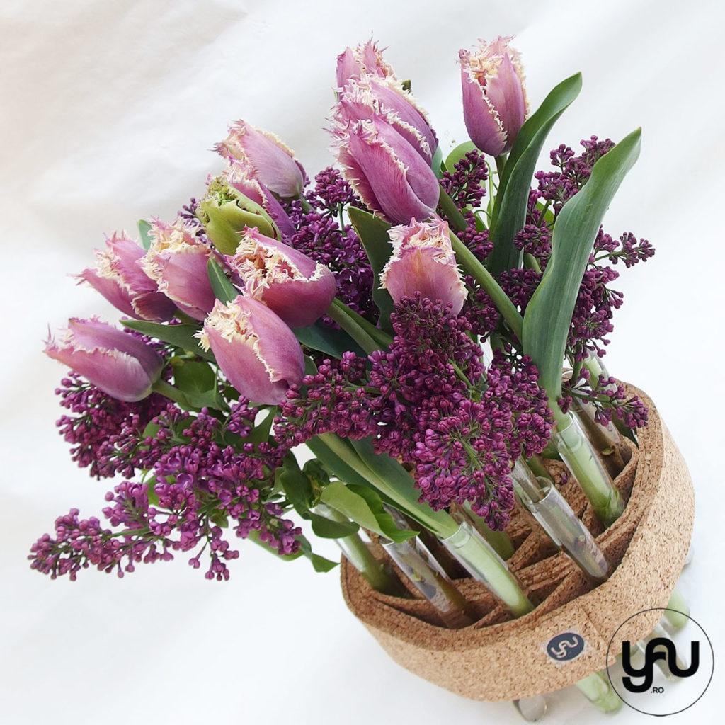 Liliac si lalele, aranjament floral pentru masa de paste _ yauconcept _ elenatoader