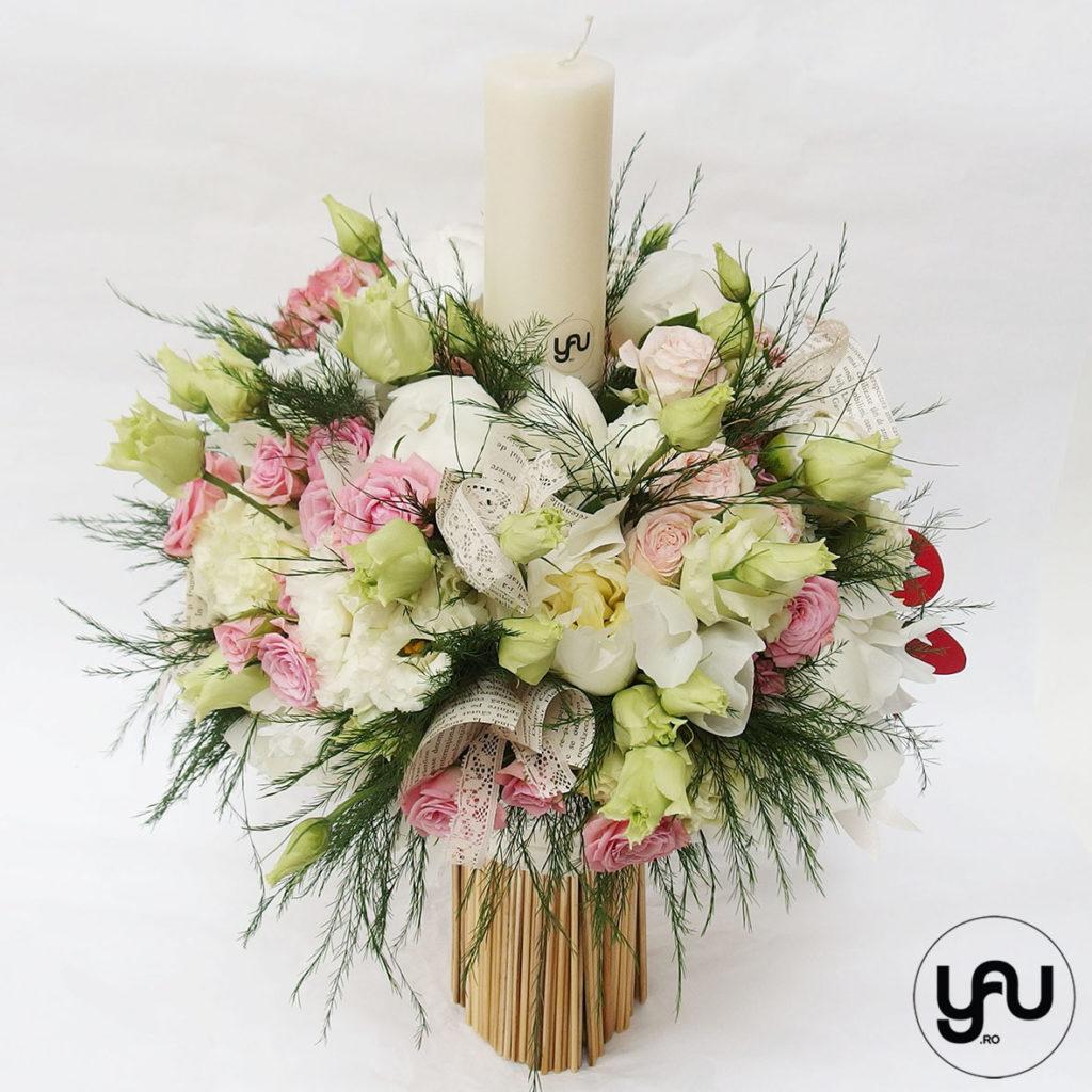 Lumanare botez BUJORI si TRANDAFIRI roz YaUconcept ElenaTOADER