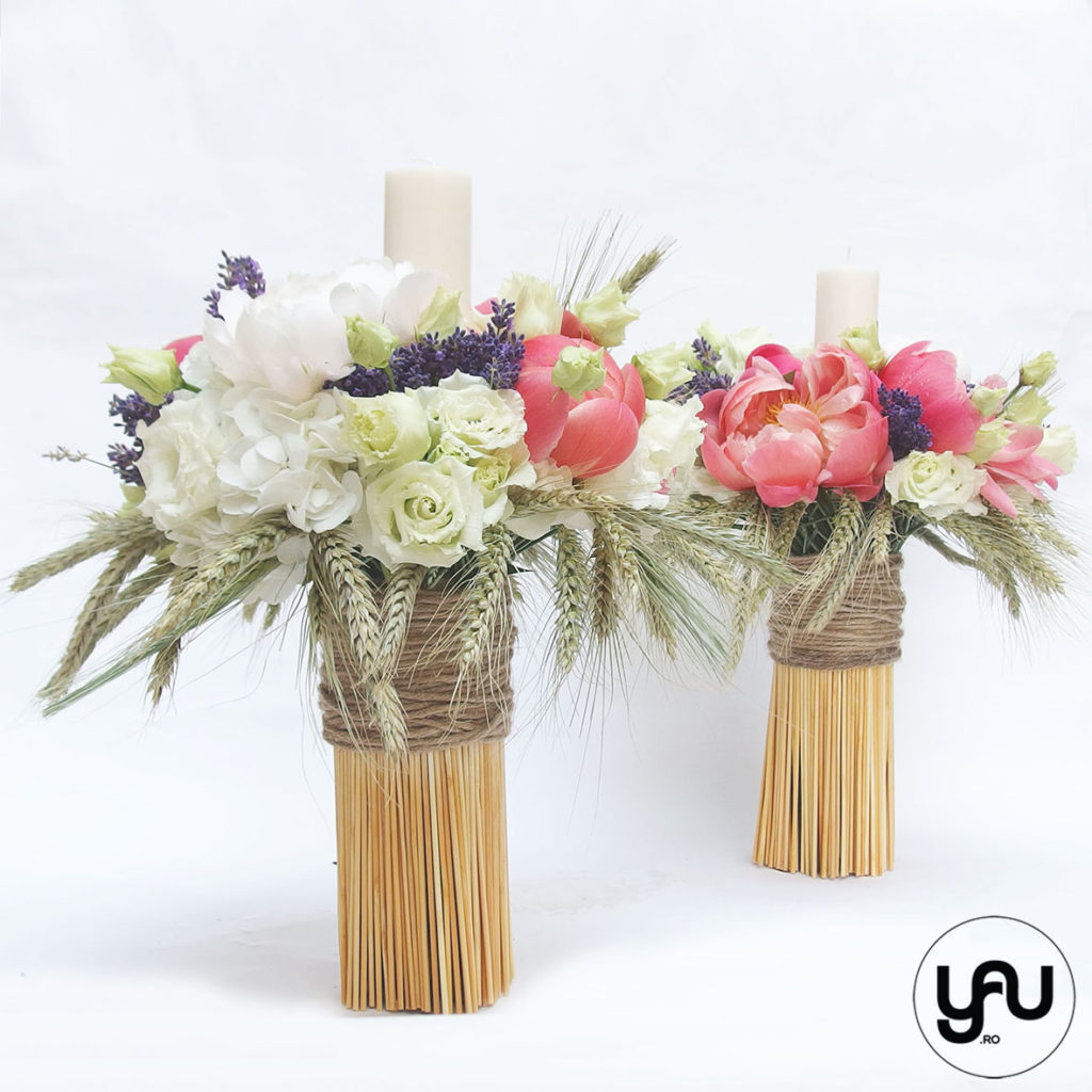 Wedding candles with peonies and lavender YaUconcept ElenaTOADER