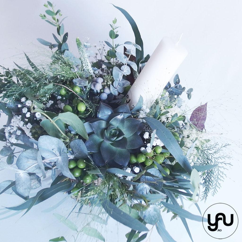 Lumanare botez verde cu plante suculente YaU Concept Elena Toader