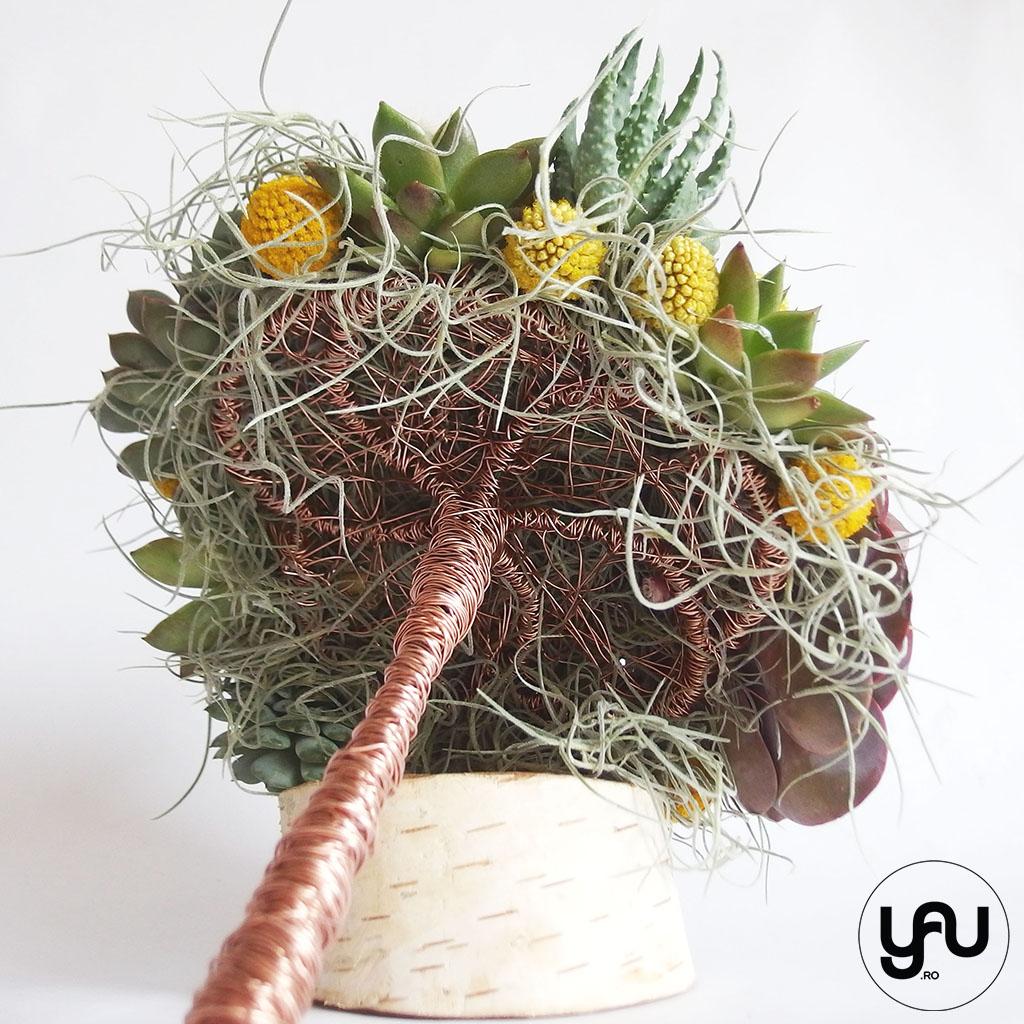 Buchet mireasa plante suculente cactusi si craspedia YAU concept Elena TOADER