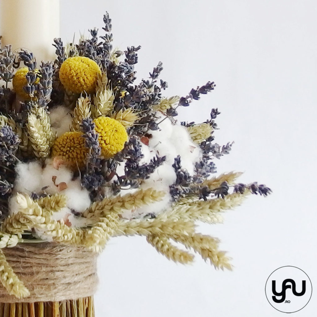 Lumanare botez flori nemuritoare YaU Concept Elena TOADER