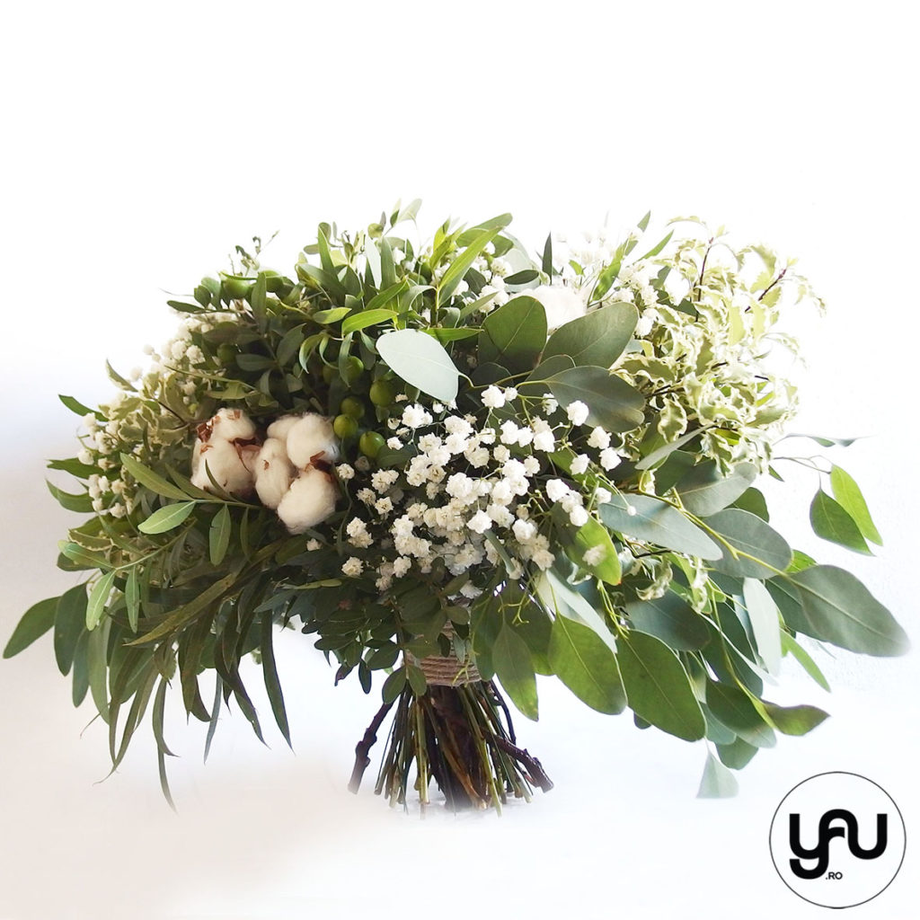 Buchet verde cu gypsophila si flori de bumbac YaU Concept YaU.ro Elena Toader