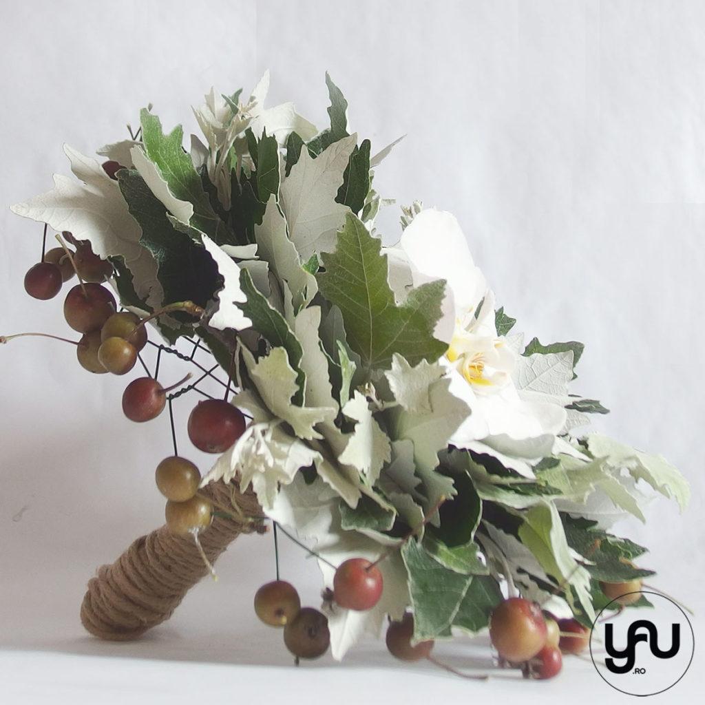 Buchet VERDE cu orhidee si merisoare YaU Concept Elena TOADER