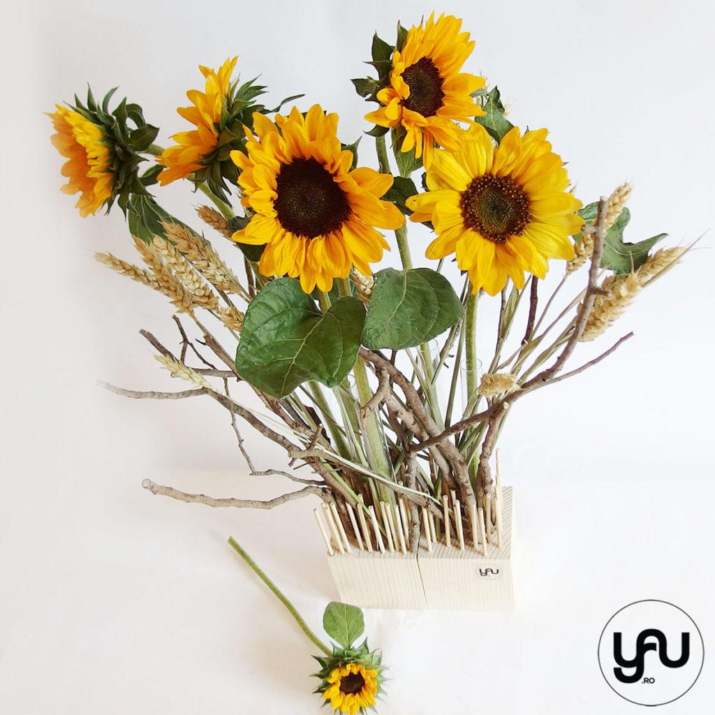 Floarea soarelui si grau, intr-un aranjament de vara yau.ro yau concept elena toader