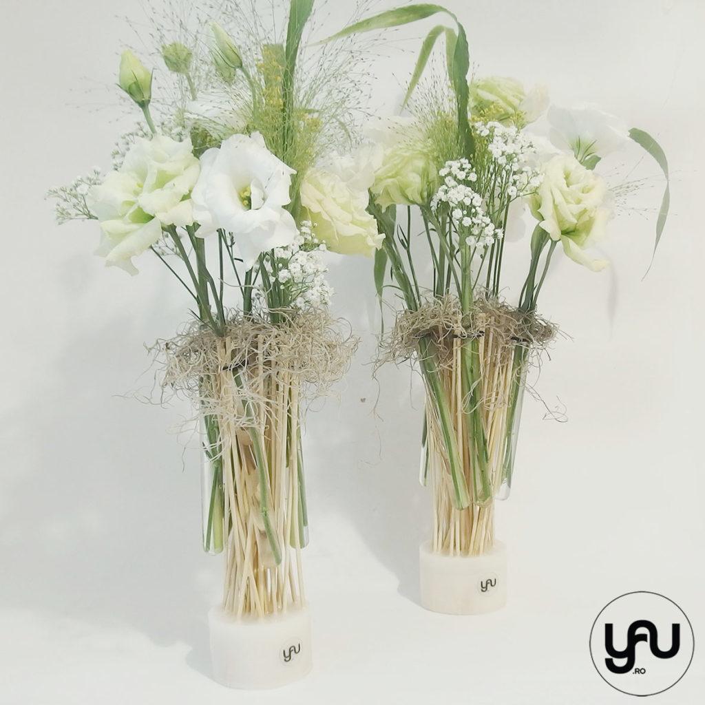 Aranjament de vara cu flori albe yau.ro yauconcept elena toader
