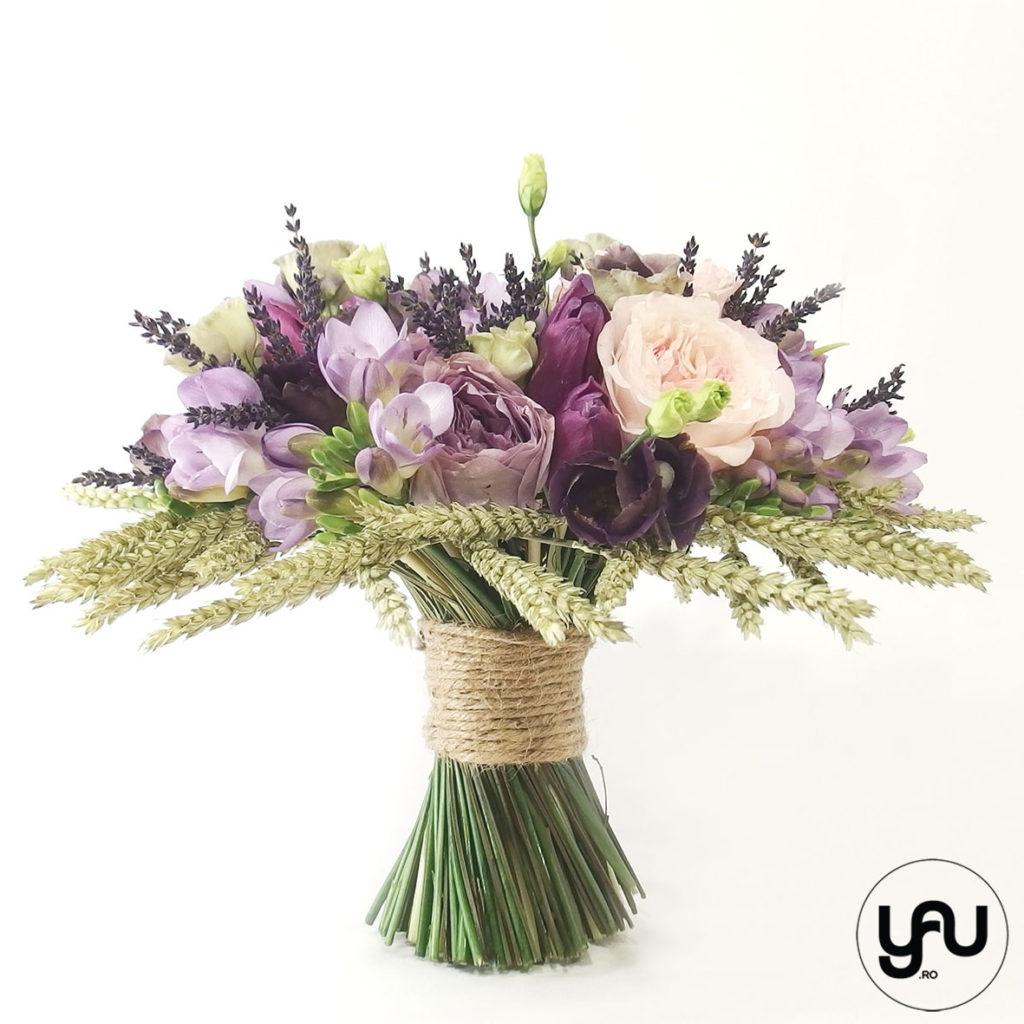 Buchet de mireasa LILA cu trandafiri de gradina yau.ro YaU Concept Elena TOADER