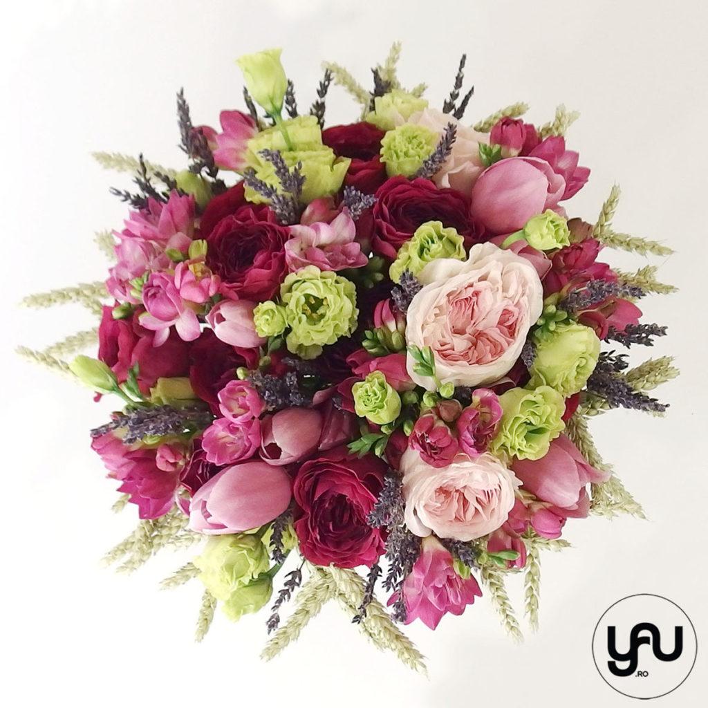 Buchet mireasa FUCSIA cu trandafiri de gradina yau.ro YaU Concept Elena Toader