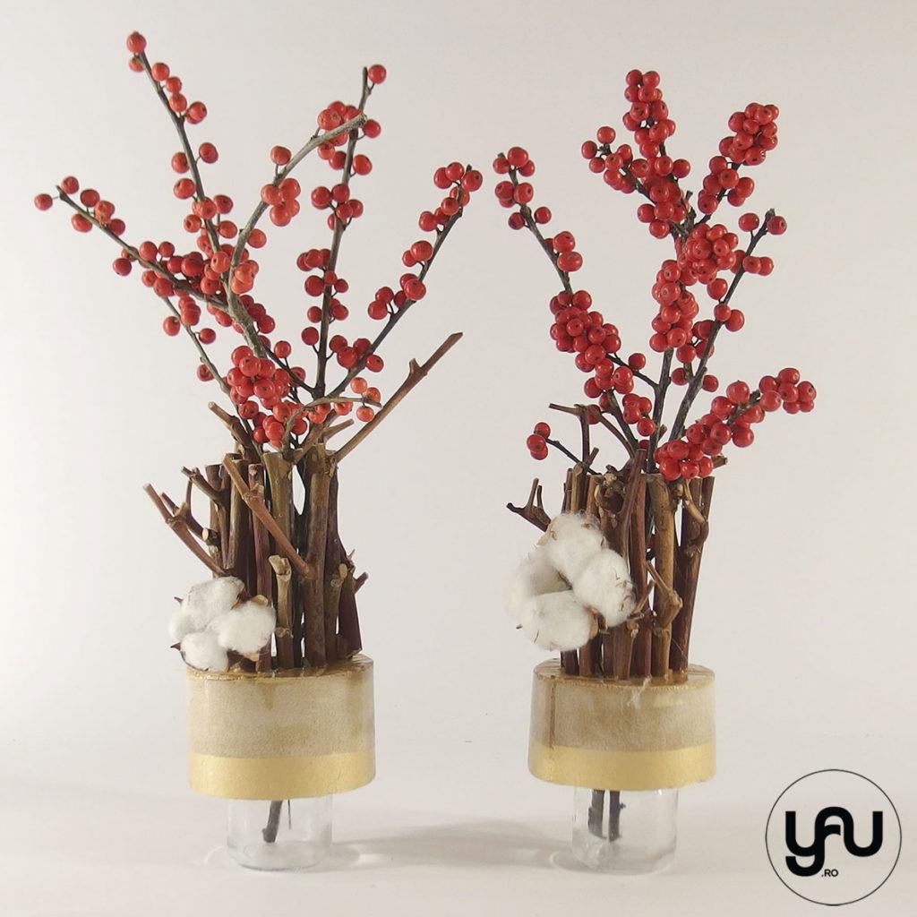 Aranjamente florale CRACIUN ilex brad si bumbac | YaU Craciun 2019 yau.ro yau concept elena toader