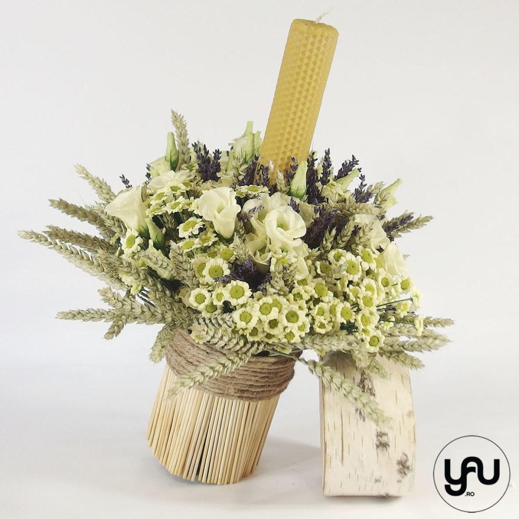 Lumanare botez flori galbene yau.ro yau concept Elena Toader