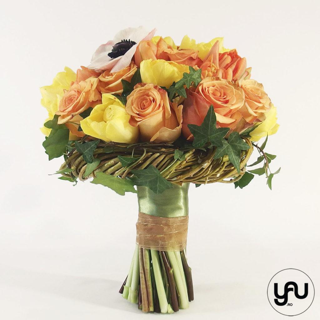 Buchet mireasa flori portocalii yau.ro yau concept elena toader buchet nunta