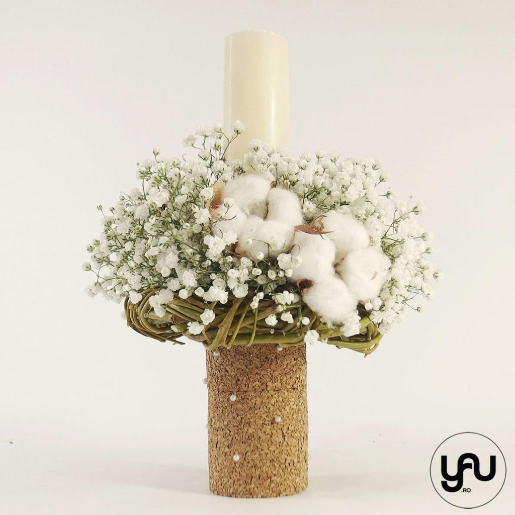 Lumanare botez flori albe yau.ro yau concept elena toader