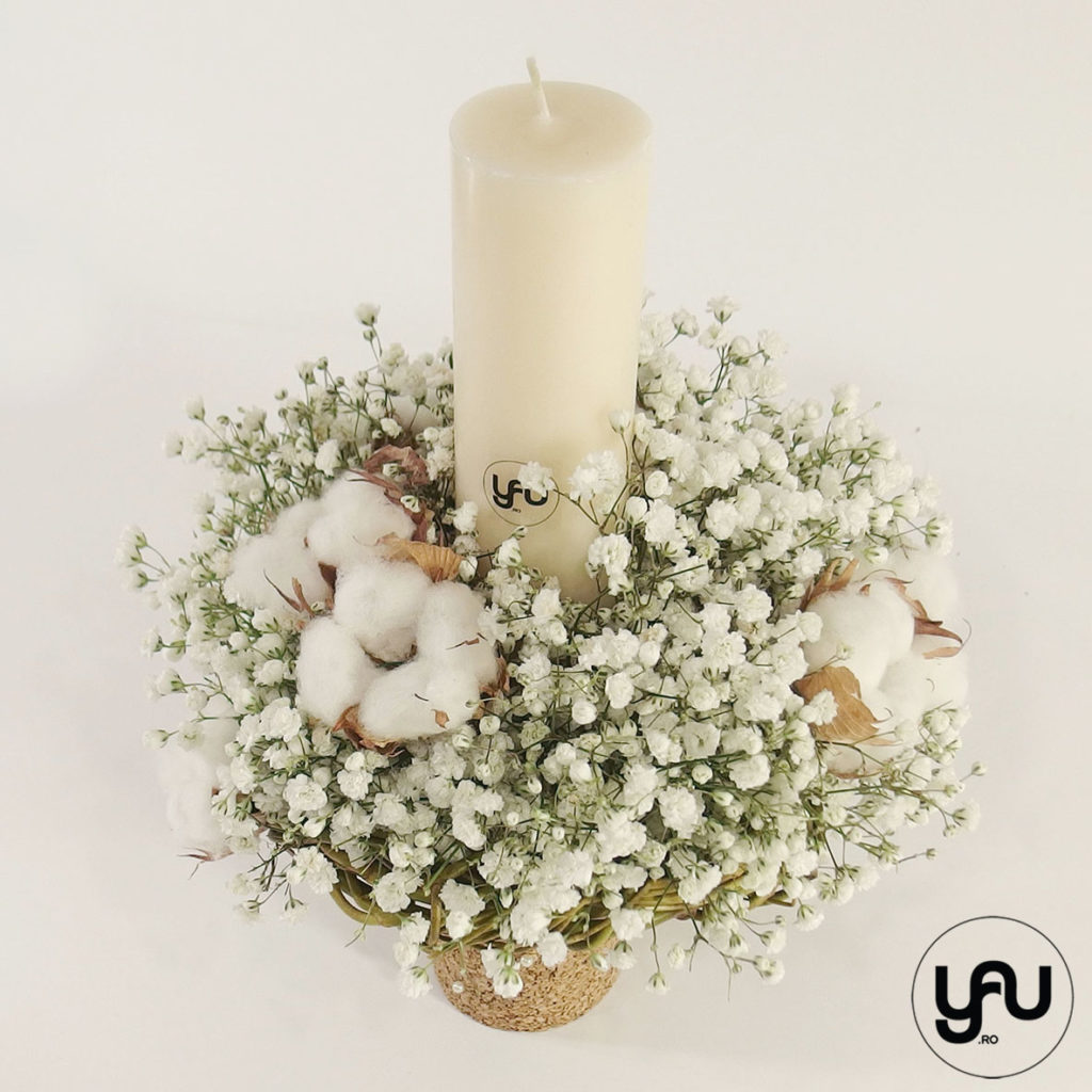 Lumanare botez flori albe yau.ro yau concept elena toader lumanari cununie