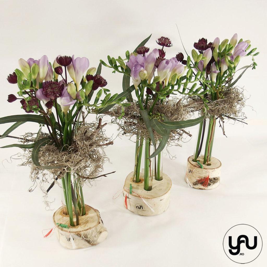 Aranjament cu FREZII yau.ro yau concept Elena Toader aranjament frezii flori primavara
