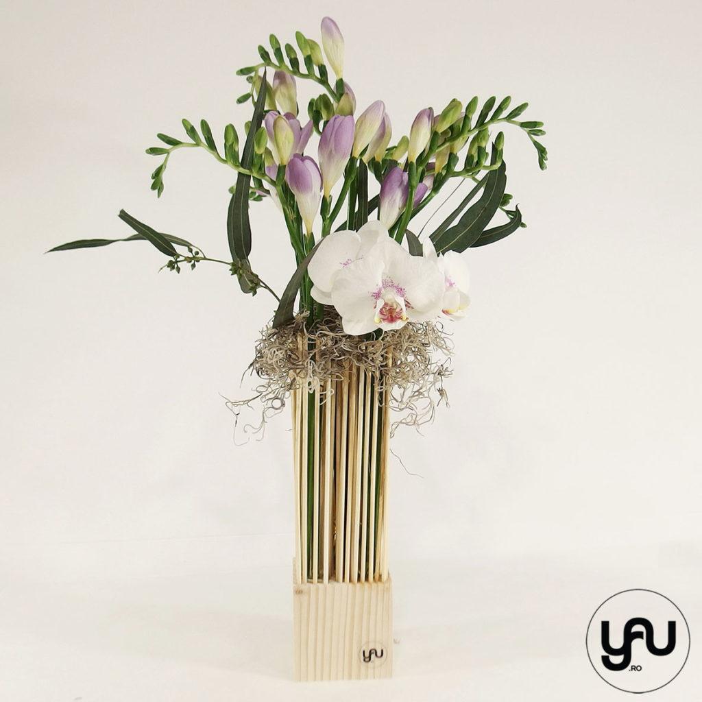 Orhidee si frezii yau.ro yau concept elena toader aranjament frezii primavara