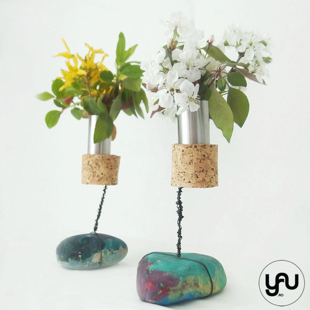 Florile PRIMAVERII si pietre pictate yau.ro yau concept elena toader