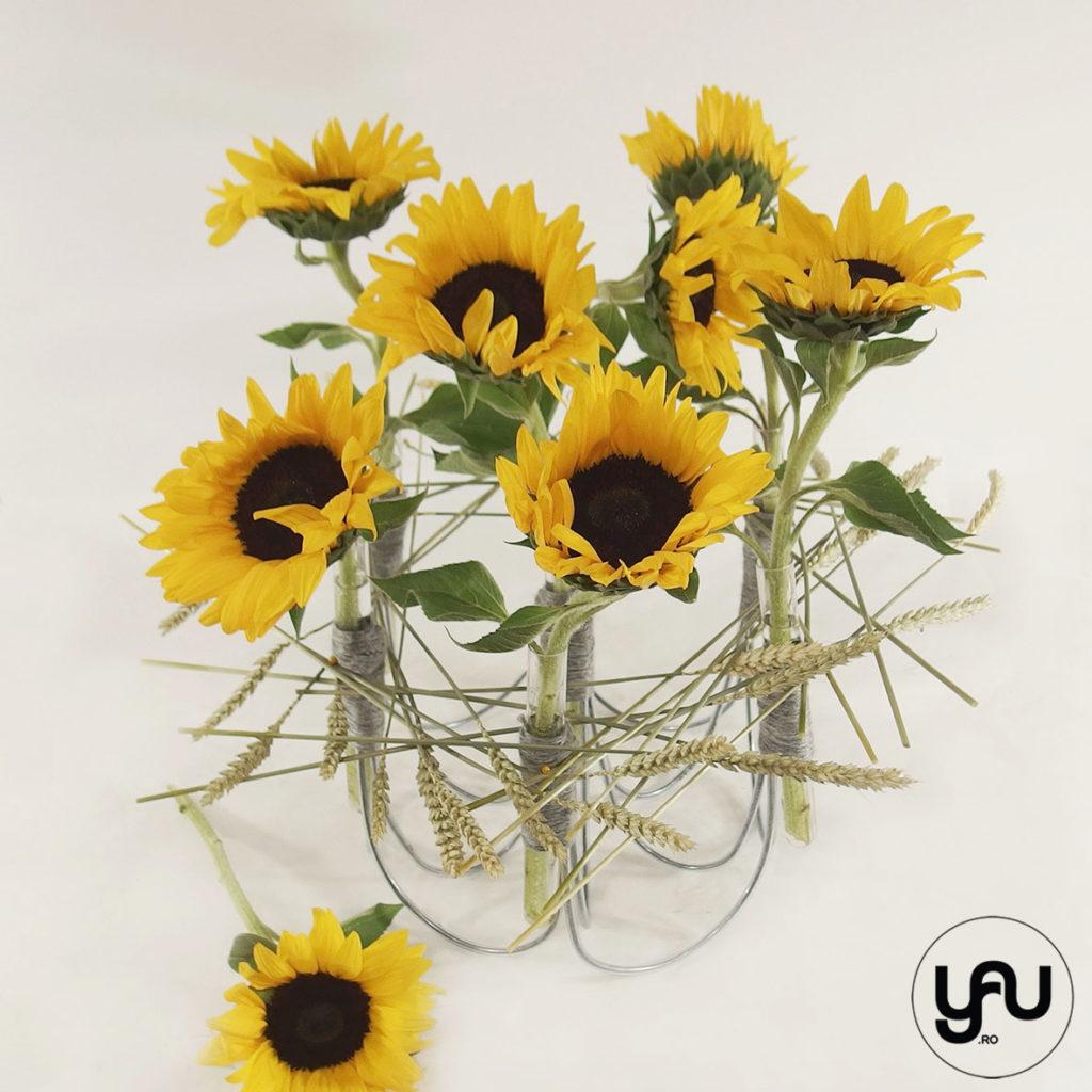 Aranjament floarea soarelui si grau yau.ro yau concept elena toader