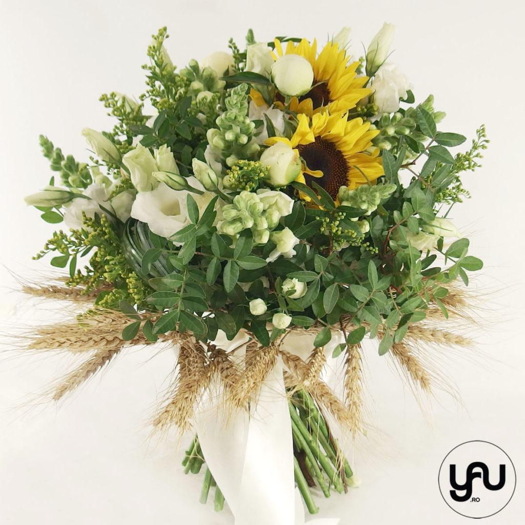 Buchet grau si floarea soarelui yau.ro yau concept elena toader