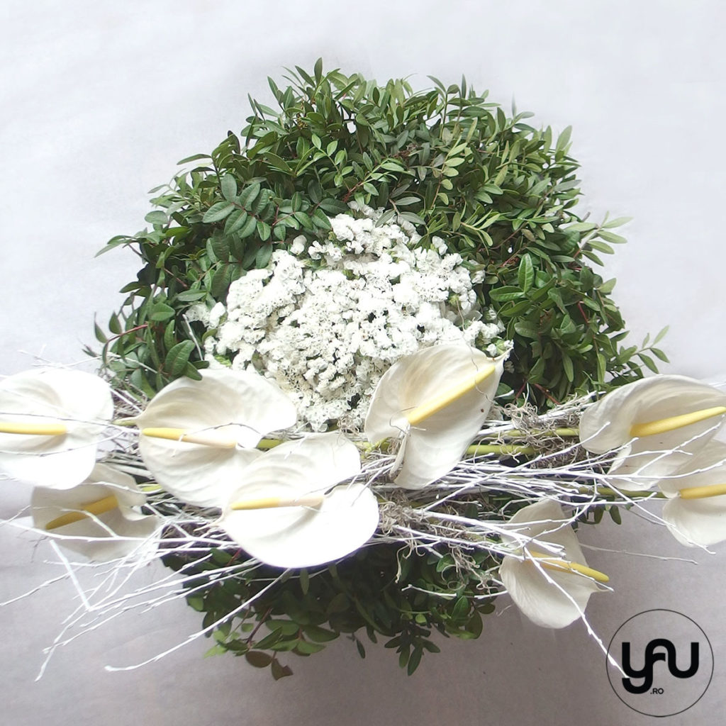 "Flori pentru ""ramas bun"" coroana funerara yau.ro yau concept elena toader"