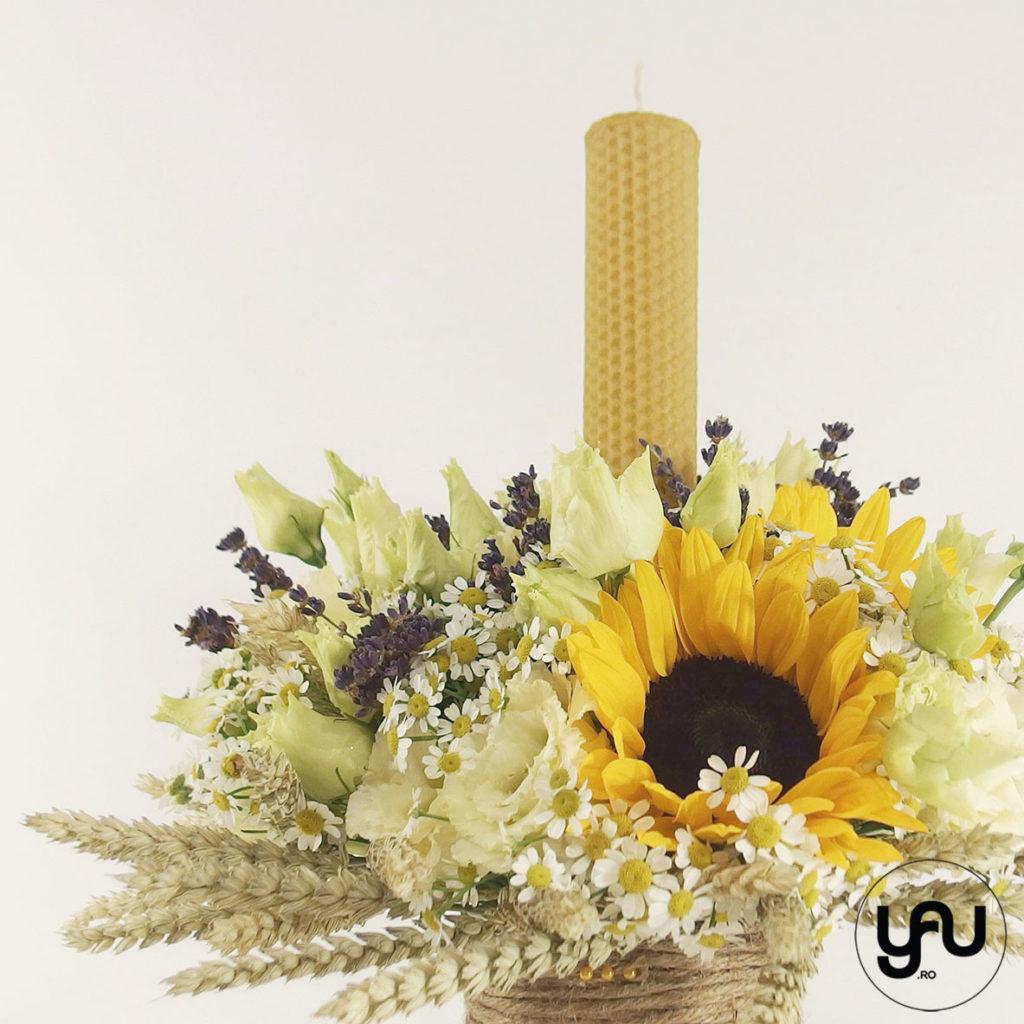 Lumanare de botez cu musetele si floarea soarelui yau.ro yau concept elena toader