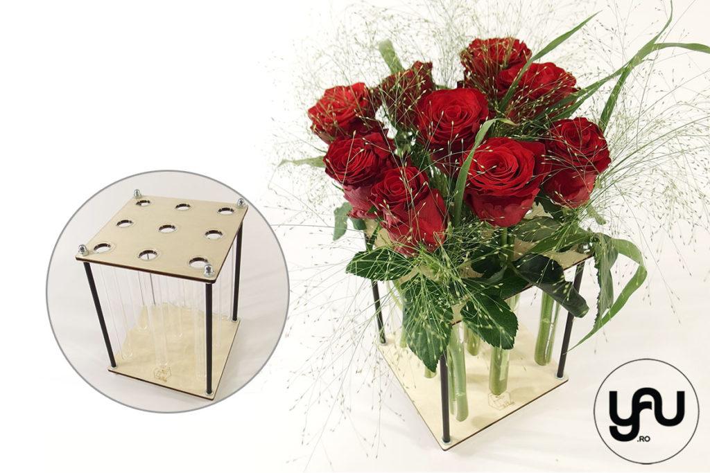 Aranjamente cu trandafiri in structuri geometrice altF.ro | PATRAT yau yauconcept altF Elena Toader